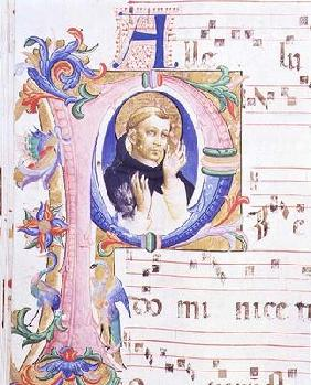 Missal 558 f.24v Historiated initial 'P' depicting a male saint 15th