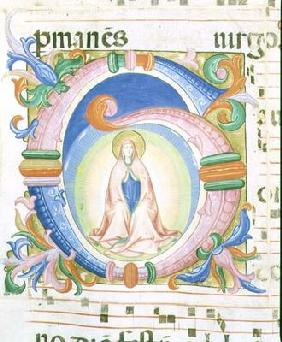 Missal 558 f.92 Historiated initial 'G' depicting the Virgin praying 02nd