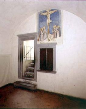 View of a monk's cell designed by Michelozzo di Bartolommeo (1396-1472) decorated with the 'Crucifix