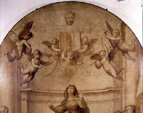 The Great Council Altarpiece, detail depicting musical angels holding aloft a book 1510