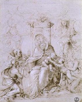 Madonna and Child enthroned with St. John the Baptist presented by an angel and St. Monica (pen and 05th-