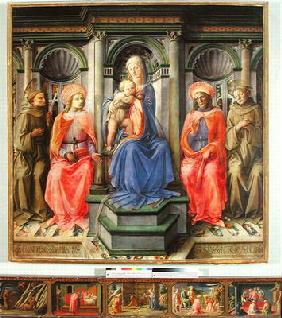 Madonna and Child Enthroned with SS. Francis, Cosmas, Damian and Anthony of Padua, c.1442-45 (temper 15th