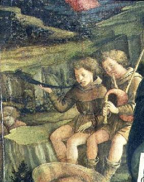 Two Musical Shepherds, detail from The Nativity 1470