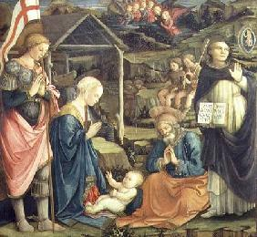 The Nativity with SS. Michael and Dominic 1470
