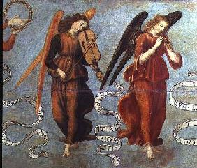 Angels playing the fiddle and pipe c.1475-97