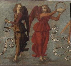 Angels playing the tambourine and triangle c.1475-97