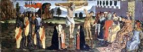 The Crucifixion, predella panel from the Tabernacle of the Sacraments c.1484-6