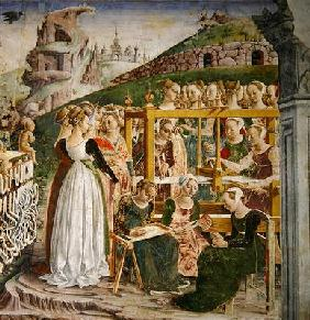 The Triumph of Minerva: March, from the Room of the Months, detail of the weavers, c.1467-70 (fresco 1900