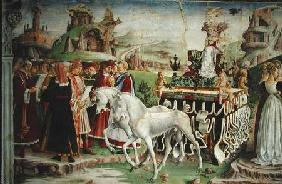 The Triumph of Minerva: March, from the Room of the Months, detail of the chariot and the group of s c.1467-70