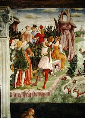 The Triumph of Venus: April from the Room of the Months, detail from the left hand side c.1467-70