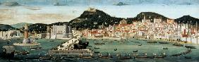 View of Naples depicting the Aragonese fleet re-entering the port after the Battle of Ischia in 1442