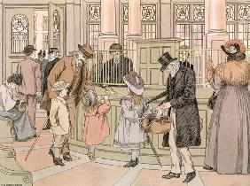 The Bank, from 'The Book of Shops', 1899 (colour litho)