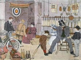 The Sports Shop, from 'The Book of Shops', 1899 (colour litho)