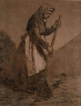 Woman Sweeping, 1856 (chalk on paper) 19th