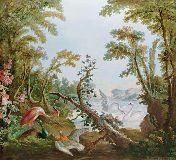 Lake with swans, a flamingo and various birds, from the salon of Gilles Demarteau c.1750-65