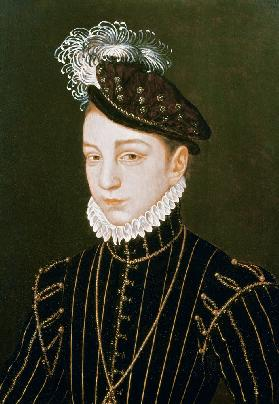 Portrait of Charles IX (panel) (related to drawing in Hermitage, St. Petersburg)