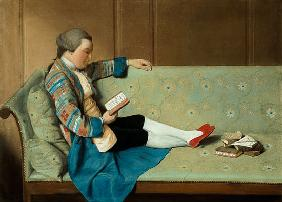 Portrait of a Man Reading - John Farr Reading Horace's Odes  (post-restoration) 18. Jh