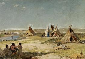 Kunstdruck von Frank Buchser - Zeltlager der Indianer in Wyoming