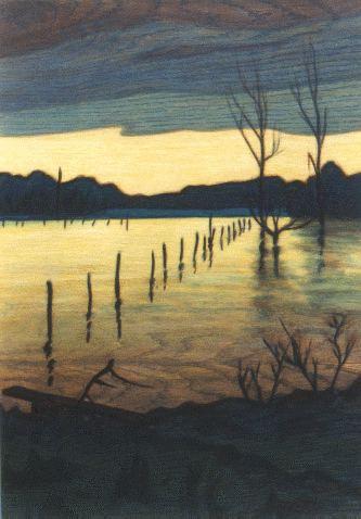 Bild: Frank Hahn - Landschaft in Gelb, Grau und Blau