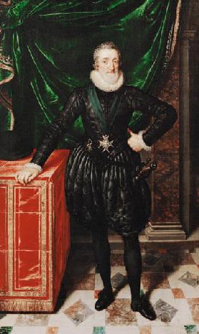 Portrait of Henri IV (1553-1610) King of France, in a black costume c.1610