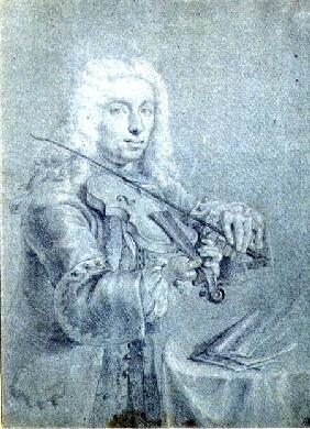 Portrait of Francesco Veracini (1690-1768), Italian violinist cil and