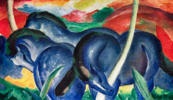 gro e blaue pferde franz marc als kunstdruck oder handgemaltes gem lde. Black Bedroom Furniture Sets. Home Design Ideas