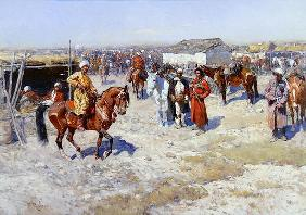 Central Asian Horse Market (oil on canvas) 17th