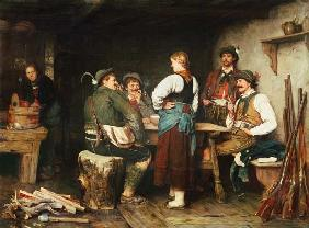 Wilderer in der Sennhütte 1876