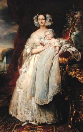 Helene-Louise de Mecklembourg-Schwerin, Duchess of Orleans (1814-58) with his son Count of Paris (18 1839