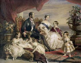 Queen Victoria (1819-1901) and Prince Albert (1819-61) with Five of the Their Children, 1846 (colour 17th