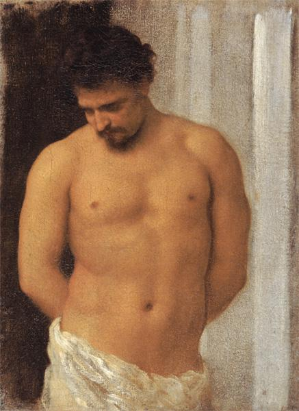 Study of a Male Figure (oil on canvas) 20th