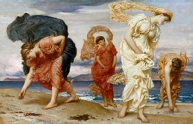 Kunstdruck von Frederic Leighton - Griechische Mädchen beim Aufnehmen von Kieselsteinen am Strand