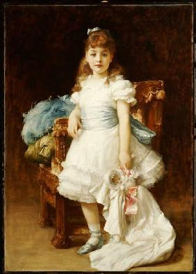 Kunstdruck von Frederic Leighton - Bildnis der Lady Sybil Primrose als Kind.