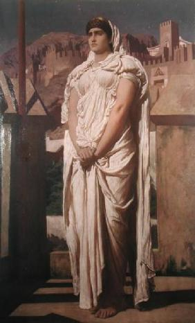 Kunstdruck von Frederic Leighton - Clytemnestra from the Battlements of Argos Watches for the Beacon Fires which are to Announce the Re