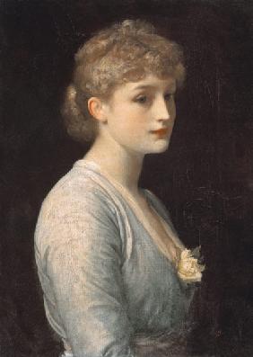 Kunstdruck von Frederic Leighton - Verträumtes Bildnis einer jungen Frau.