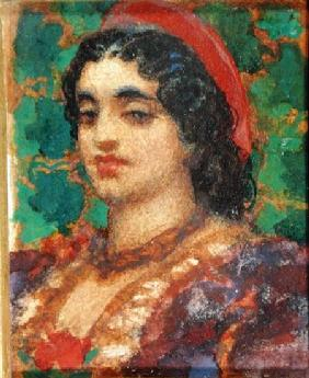Kunstdruck von Frederic Leighton - Study of a Woman's Head (w/c and bodycolour on paper)