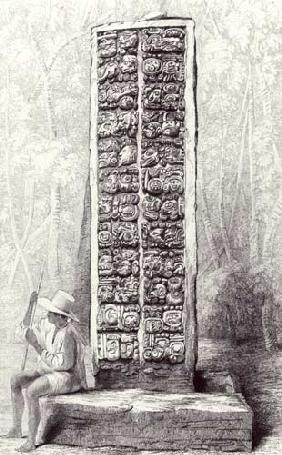 Hieroglyphs on the rear of a monument at Copan, Honduras, from volume I of 'Incidents of Travel in C published