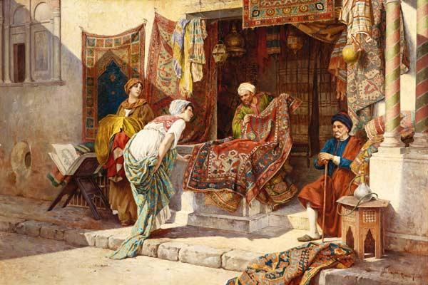 Teppichhändler  Der Teppichhändler. - Frederico Ballesio als Kunstdruck oder ...