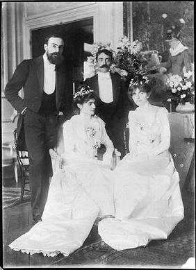 L-R: Ernest Rouart (1874-1942) and his wife Julie Manet (1878-1967), Paul Valery (1871-1945) and his 20th