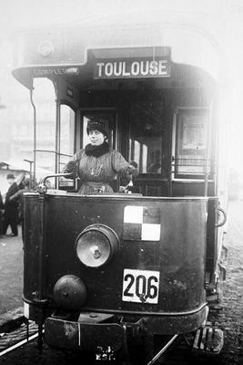 Woman driving a tram in Toulouse during World War One, 1914-18 (b/w photo) 19th
