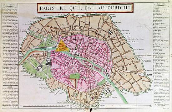 Map of Paris, June 1800 - French School als Kunstdruck oder ...