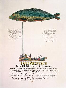 Poster advertising the subscription for a dirigible balloon in the shape of a fish