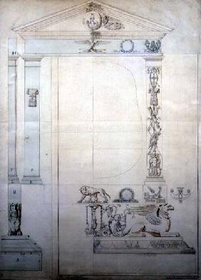 Design for a Cheval mirror c.1815  &