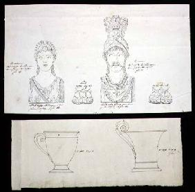 Designs for gilt bronze ormolu furniture mounts and French Empire porcelain cups c.1820  &