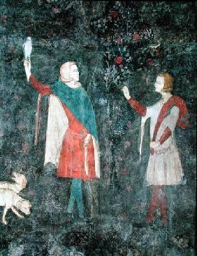 Detail of two falconers, from the Stag Room 1343