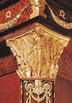 Detail of winged victory from the leg of a secretaire (wood & gilt bronze)