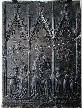 Funerary stela of the Sacquespee family, from the St. Nicaise cemetery, Tournai 1376