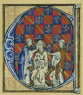 Historiated initial ''C'' depicting the ordination of a bishop, c.1320-30