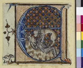 Historiated initial ''E'' depicting a lion fighting a devil, c.1320-30
