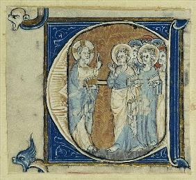 Historiated initial ''E'' depicting Jesus Christ and the Apostles, c.1320-30